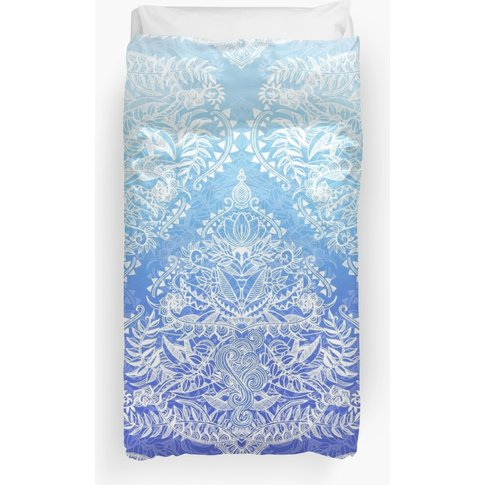 Out Of The Blue - White Lace Doodle In Ombre Aqua An...