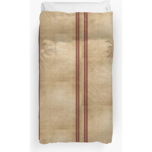 Burlap Feed Sack Red Stripes Duvet Cover
