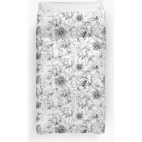 Black And White Flowers Duvet Cover