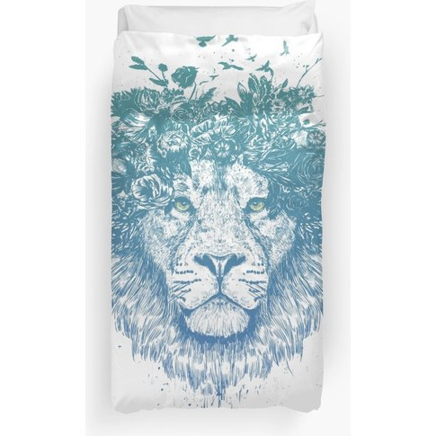 Floral Lion Duvet Cover