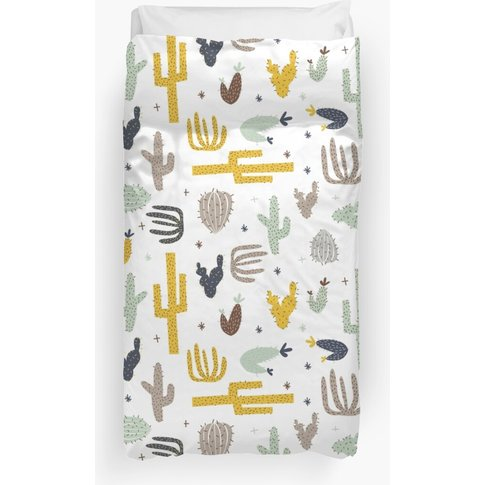 Cactus - Mustard Navy Duvet Cover