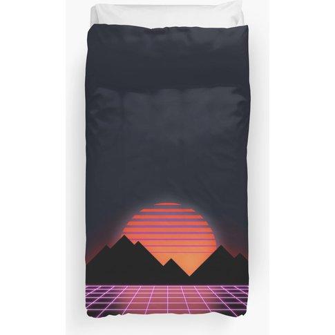 """80s Retro Grid & Rising Sun - """"Event Horizon"""" Duvet ..."""