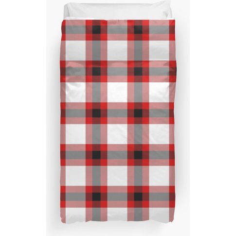 Red, White And Black Festive Plaid Duvet Cover