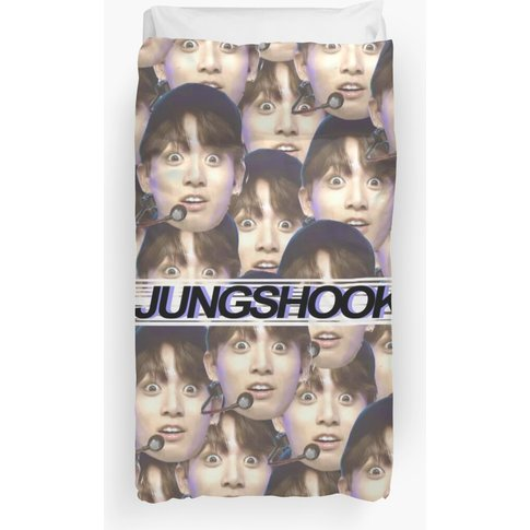 """Jungshook"" - Jungkook - Filled Design Blue Duvet Cover"