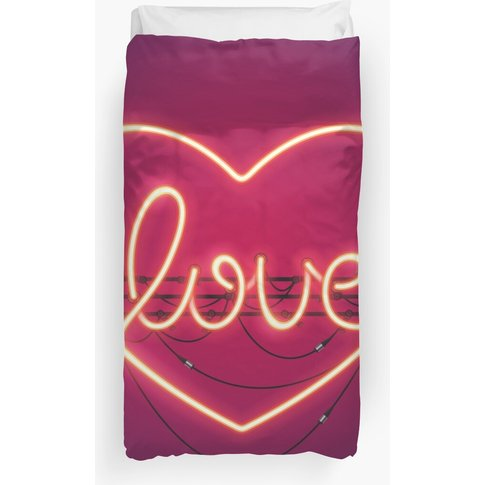 Love Heart Neon Sign Duvet Cover