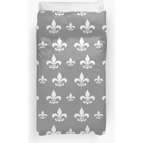 White Fleur De Lis Pattern Duvet Cover