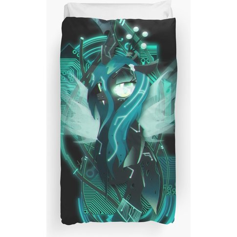 Dark Synthwave/Cyberpunk Queen Chrysalis Duvet Cover