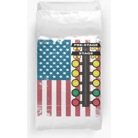 Drag Racing Usa Flag Design Duvet Cover