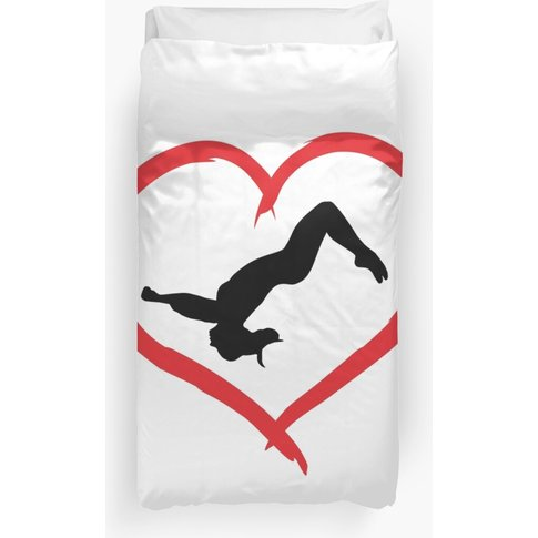 Gymnastics, Gymnast & Heart Duvet Cover