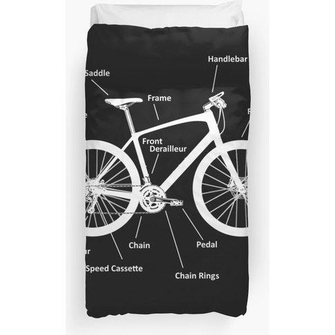 Mountainbike White Parts Duvet Cover