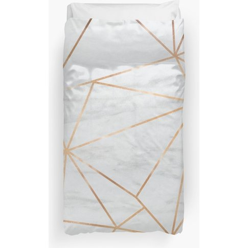 Gold Geometric Pattern Marble  Duvet Cover