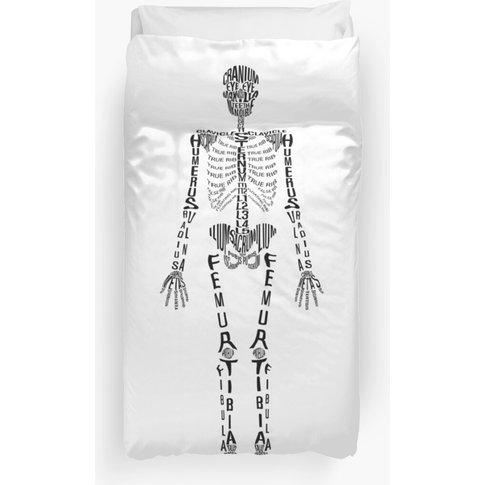 Typographical Skeleton Duvet Cover