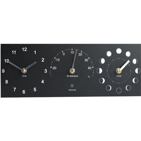 Eco Moon Phase  Clock & Thermometer