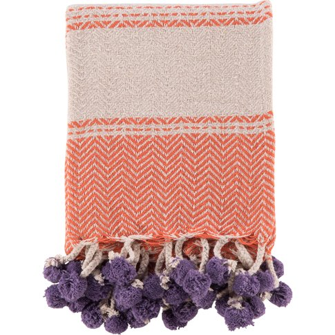 Cotton Tassel and Pom Pom Throw - Orange