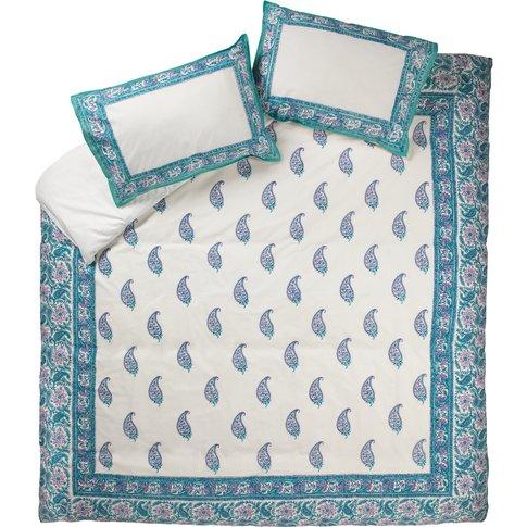 Turquoise Paisley Duvet Cover Set - Double