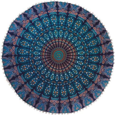 Peacock Print Floor Cushion - Turquoise
