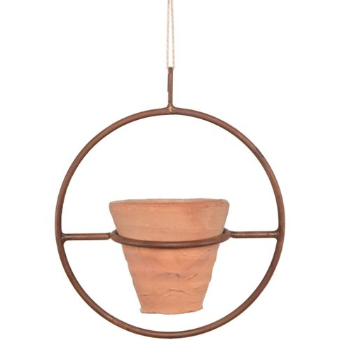 Clay Plant Pot With Metal Hanger