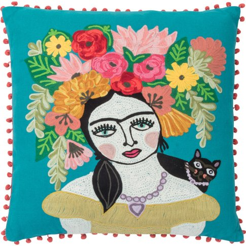 Green Frida Kahlo Floral Filled Cushion