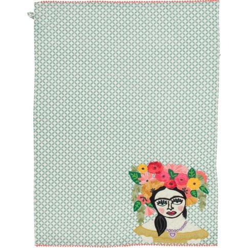 Green Frida Kahlo Embroidered Tea Towel
