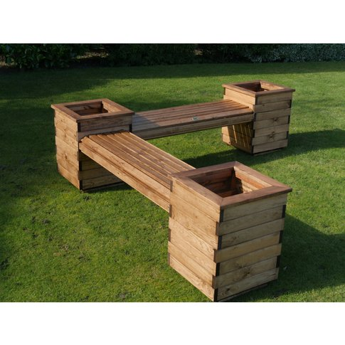 Wooden L-Shaped Planter Seat