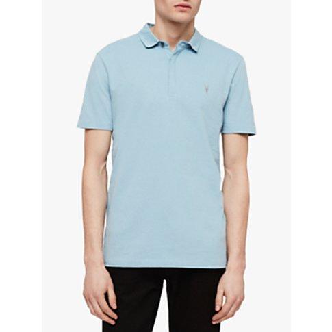 AllSaints Clash Short Sleeve Polo Shirt, Arbour Blue