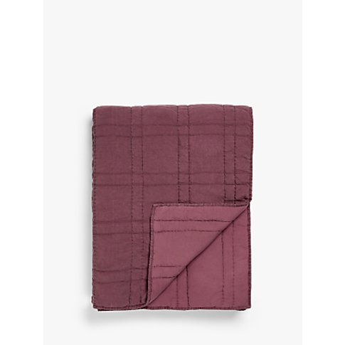 Croft Collection Linen Blend Bedspread, Plum