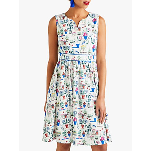 Yumi Plant Pot Print Skater Dress, Ivory/Multi