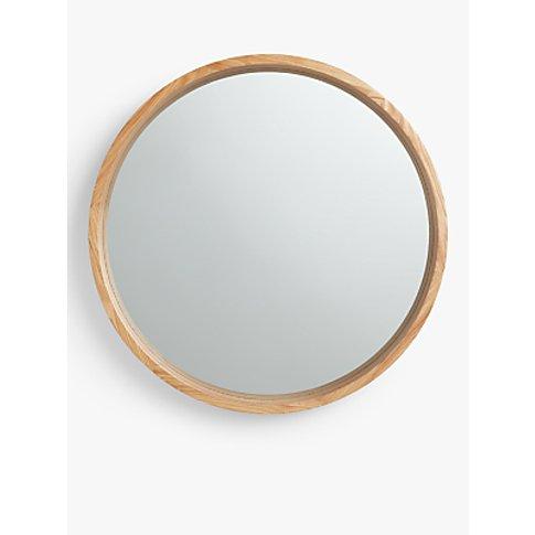 John Lewis & Partners Scandi Round Oak Mirror, Natural