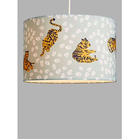 House By John Lewis Tiger Lampshade, Blue/Mustard