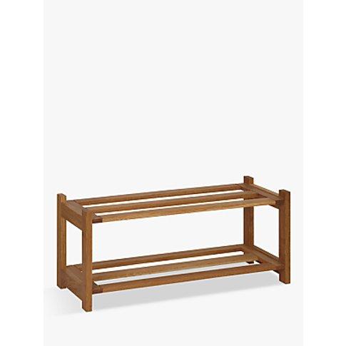 John Lewis & Partners Oak Wood Shoe Rack, 2 Tier