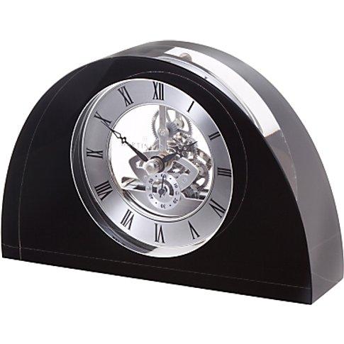 Dartington Crystal Oval Glass Clock, Black