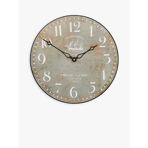 Lascelles Tea Clipper Ship Wall Clock, Dia.36cm, Grey