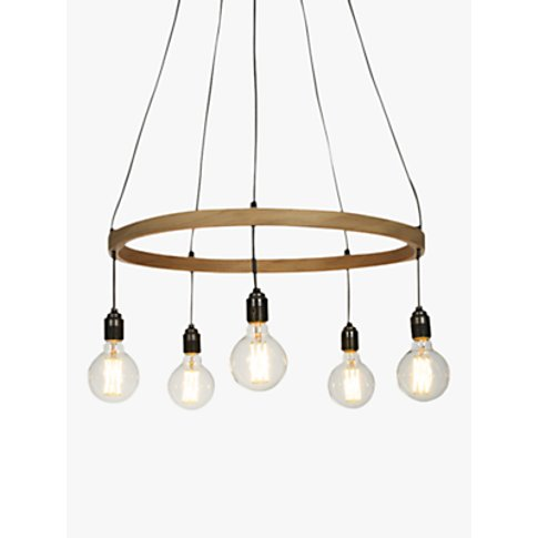Tom Raffield Kern Hoop Pendant Ceiling Light, 5 Ligh...