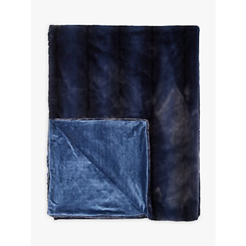John Lewis & Partners Premium Faux Fur Striped Throw