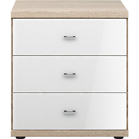 John Lewis & Partners Elstra 3 Drawer Glass Front Be...