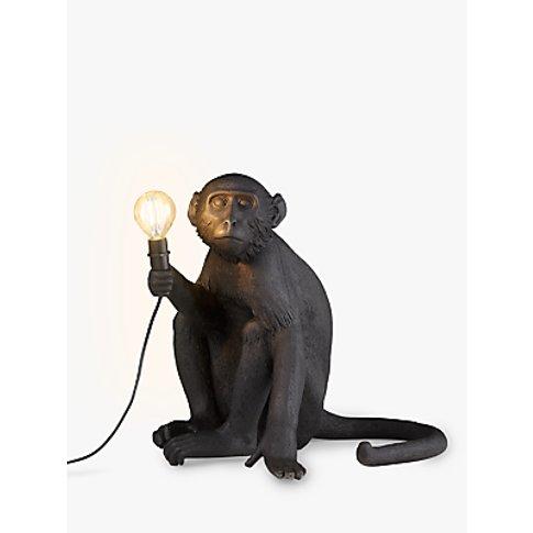 Seletti Sitting Monkey Table Lamp, Black