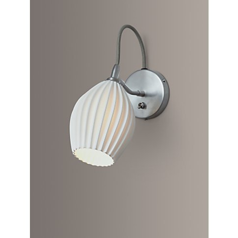 Original BTC Fin Ceramic Wall Light, Satin Chrome