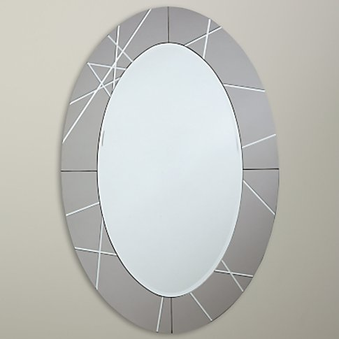 John Lewis & Partners Engraved Oval Mirror, 90 X 60cm, Smoke