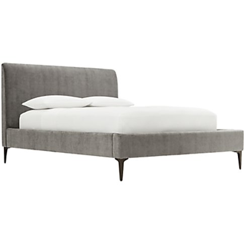West Elm Andes Deco Upholstered Bed Frame, Double, Grey
