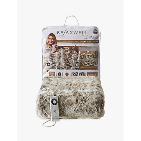 Dreamland Relaxwell Deluxe Faux Fur Heated Throw, Al...