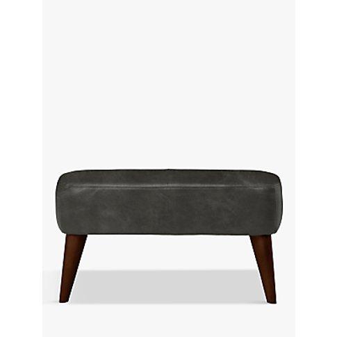 John Lewis & Partners Bergen Leather Footstool, Dark...