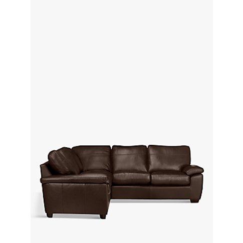 John Lewis & Partners Camden Leather Corner Sofa, Dark Leg