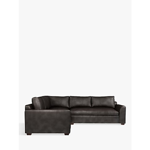 John Lewis & Partners Tortona Leather Corner Sofa, Dark Leg