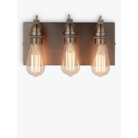 John Lewis & Partners Bistro 3 Arm Wall Light, Antiq...