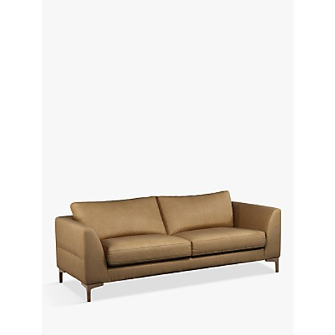 John Lewis & Partners Belgrave Grand 4 Seater Leather Sofa, Dark Leg