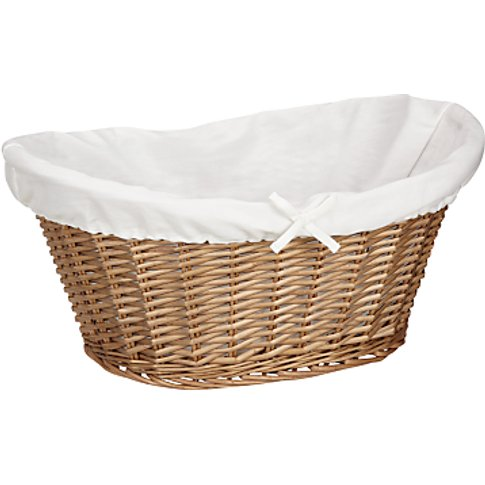 John Lewis & Partners Lined Oval Wicker Laundry Basket