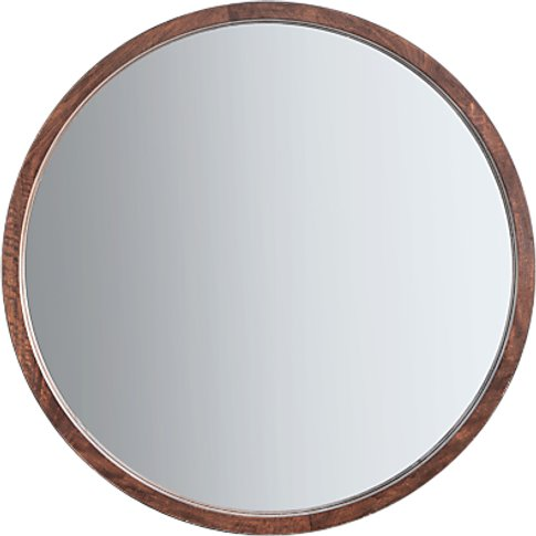 Marx Wood Framed Round Mirror, 90cm, Natural