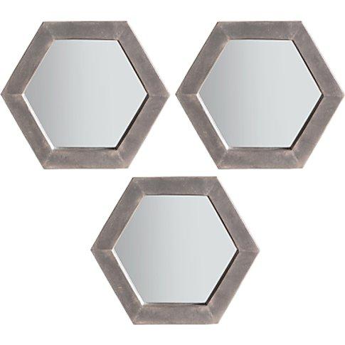 Trey Trio Hexagonal Mirrors, 36 X 31cm, Grey, Set Of 3
