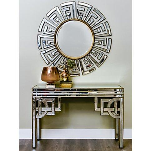 Libra Claridge Deco Round Mirror, Antique Bronze, Di...