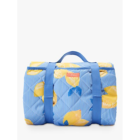 Joules Lemon Print Picnic Rug, Yellow/Blue